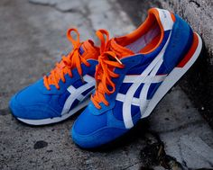 "Onitsuka Tiger Colorado Eighty Five New York. The kicks come bearing Mets and Knicks colors (blue and orange) in suede, nylon and leather. Cementing its NYC status, the kicks read ""New York"" on the heel."