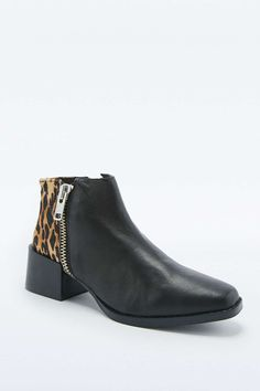 Sol Sana Louie Leopard and Black Leather Ankle Boots