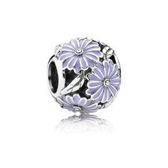 PANDORA | Daisy silver charm with lavender enamel