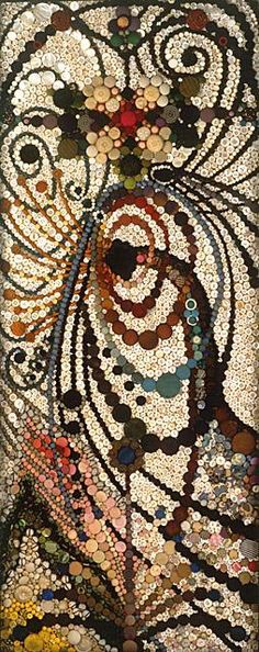 Buttons as mosaic tiles! this piece is awesome, because the art piece was made completely by buttons, which is something that you almost never see. People are amazed everywhere
