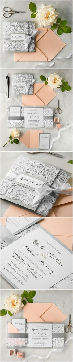 Elegant Lace Grey & Peach Romantic Wedding Invitations. Real lace. Combination of pastel peach with shades of grey and white #elegant #wedding