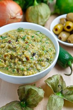 Green Olive Salsa Verde with Cilantro Lime Grilled Halibut Recipe : A roasted tomatillo and jalapeno salsa verde with green olives. Green Olive Salsa, Grilled Halibut Recipes, Grilled Fish, Hummus, I Love Food, Good Food, Yummy Food, Yummy Snacks, Tasty