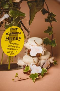 honey wedding favors, photo by Mary Margaret Smith http://ruffledblog.com/birmingham-botanical-gardens-wedding #weddingfavors