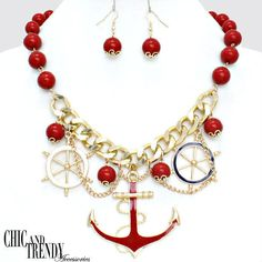 "VERY CHUNKY ""NAUTICAL MULTI CHARM""RED/GOLD HIGH QUALITY Necklace Set*CHIC TRENDY"
