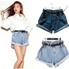 Novo 2016 Verão mulheres cintura alta jeans curto do vintage hem-roll up shorts jeans casuais todo o jogo plus size saia destruído