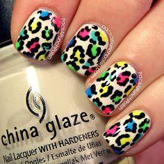 PackAPunchPolish: Neon Leopard Print Nail Art