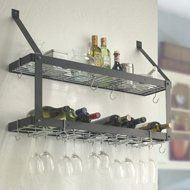 $119.00-$99.99 This 2-Shelf Wall Mounting Wine Rack fits perfect in the modern home and will keep all your finest wine stored in a safe place while displaying them neatly as a beautiful showcase. You will be astounded by the quality of this steel framed wine rack and its sleek, attractive and practical design. Hold bottles, stemware and most other wine accessories. Available in four finishes: Ha ...