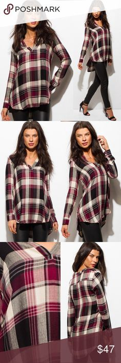 🆕JUST IN🆕 Plaid High-Low Top in Burgundy/Black 🆕JUST IN🆕 Plaid High-Low Top in Burgundy/Black Color ~ Burgundy / Black Fabric ~ 100% Rayon  Not your ordinary Plaid top, comes with a high-low hem and deep v-neck. Add some classy style to any outfit!!🍂🍂🍂 Threadzwear Tops Blouses