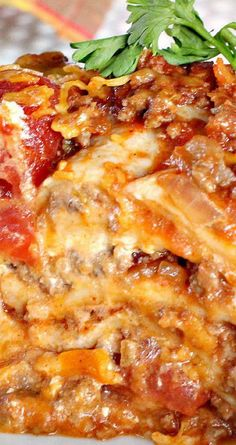 Tijuana Torte ~ This fabulous Tex-Mex casserole is composed of ground beef filling with stewed tomatoes, tomato sauce, diced green chilies, taco seasoning--layered with flour tortillas, cheddar cheese, and sour cream.