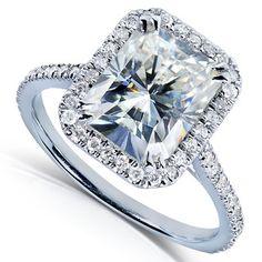 14k Gold Radiant-cut Moissanite and 1/4ct TDW Diamond Engagement Ring (G-H, I1-I2)   Overstock.com