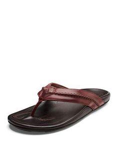 OluKai Men s Mea Ola Faux-Leather Flip-Flop Sandals Leather Flip Flops 3c2b3f7be