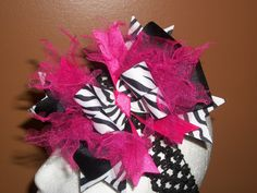 Hot Pink Zebra Tulle Boutique Hair Bow AND Headband. $9.50, via Etsy.