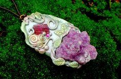 Crystal Necklace Cobalto Calcite Pendant by EnchantedEvolution11