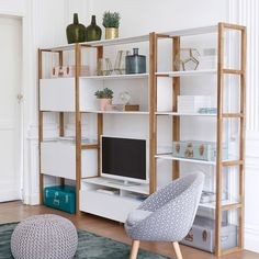 Compo Shelved TV Stand LA REDOUTE INTERIEURS Made of quality materials, this ultra-functional lacquered TV unit provides contemporary styling with clever storage. Its modern, minimalist design. Diy Storage, Storage Shelves, Shelving, Storage Units, Storage Solutions, Storage Ideas, Tv Shelf Unit, Ikea Ivar Shelves, Ivar Regal