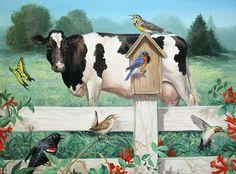 Linda Picken Art Studio / Birds Bees and Cow.jpg