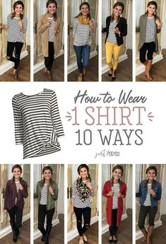 How to wear 1 striped shirt 10 different ways! A good basic striped tee can be worn so many ways!! This striped tee is a super soft material, and I love the little twist detail added! Here are 10 ways to style and wear it and I'm sure you can find many more!!...