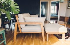 Wooden sofa with a separate bench