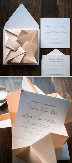 Unique Blush Origami Wedding Invitation by Penn & Paperie. Modern Invitation Design. Elegant Blush and Gray Wedding Invitation.