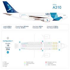 SATA AIRLINES AIRBUS A310 AIRCRAFT SEATING CHART