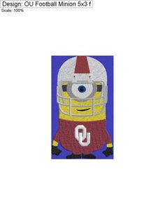 OU Football Minion 5x3 by CharlaBUStedStitches on Etsy