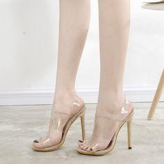 ee85d1d97c6 Hot Sale Women Pumps Women Sandals Ankle Strap Platform High-Heels PVC  Crystal Transparent Fashion