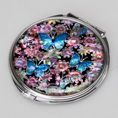 Pink Compact Mirror with Mother of Pearl Blue Butterfly