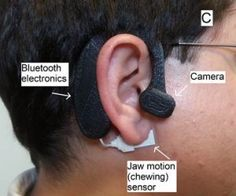 Automatic Ingestion Monitor (AIM) sensor worn around ear to track diet. In development. Sensor feels vibrations from jaw movements during food intake, camera captures images of food. Dr. Edward Sazonov, Univ Alabama