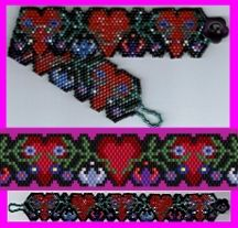 True Love Grows Bracelet at Sova-Enterprises.com This lovely bracelet with sculptured edges features an endearing combination of hearts and flowers. PDF includes 2 full-color, realistic Beadscape images of the design, suggested Delica bead chart, brief instructions, and a full-color, flat-mode Beadscape pattern with symbols. 11 colors needed. Use any size seed beads.