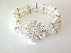 Pearl cuff bracelet  Cuff Statement Bracelet  by QueenMeJewelryLLC