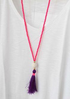Neón borla collar  joyas de Neon Neon Pink por lizaslittlethings