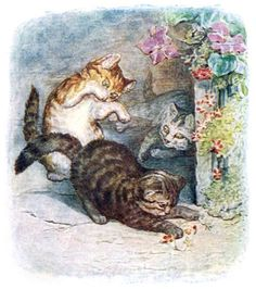 oldbookillustrations:  Their names were Mittens, Tom Kitten, and Moppet. From The tale of Tom Kitten, by Beatrix Potter, New York, 1907. (Source: archive.org)