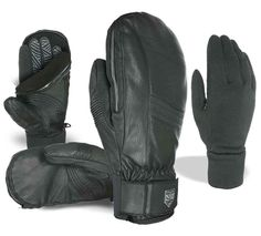 STEALTH LEATHER MITT. This ski glove is a 3 in one design that provides max versatility, the fleece lined shell can be used on its own in moderate weather conditions; the I-Touch liner and glove together for super cold conditions.