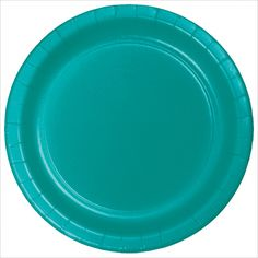 7 inch Roung Solid Paper Lunch Plate Tropical Teal/Case of 240
