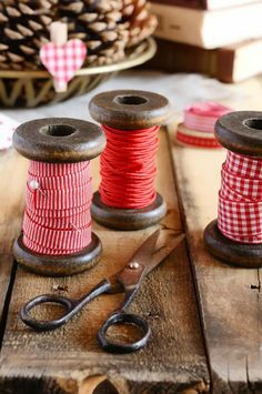 spools of red ribbon