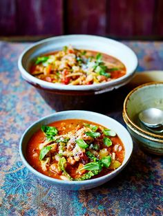 Classic minestrone soup   Vegetables recipes   Jamie Oliver Jamie Oliver Minestrone, Classic Minestrone Soup Recipe, Soup Recipes, Healthy Recipes, Healthy Food, Chard Recipes, Healthy Chicken, Drink Recipes, Healthy Meals