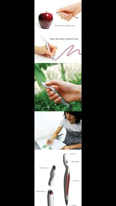 High tech pen. Scan the color you want, then draw with that color!