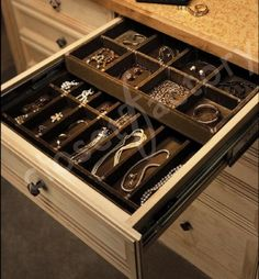 "I love these drawers!  ""Closet Factory"" hand makes their double and single deck custom jewelry drawers custom sized to fit the drawer. All drawers are made with beautiful velvet and trimmed with decorative ribbon.  Drawers can be locked, or hidden. I WANT!!!"