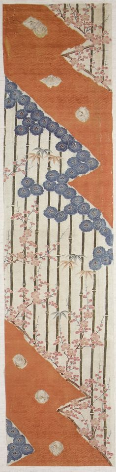 Piece from a kosode  Period: Edo period (1615–1868) Date: late 18th–19th century Culture: Japan Medium: Ground of dye-patterned (somewake) red and white satin damask (rinzu) Dimensions: H. 46 1/16 in. (117 cm); W. 10 13/16 in. (27.5 cm) Classification: Textiles-Dyed