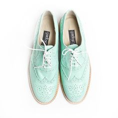 mint oxford brogue shoes - FREE WORLDWIDE SHIPPING. $225.00, via Etsy.