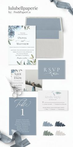 Dusty Blue, Green, Navy and Gray Watercolor floral Wedding Invitation Suite This. Dusty Blue, Green, Navy and Gray Watercolor floral Wedding Invitation Suite This wedding invitation Blue Wedding Invitations, Wedding Invitation Design, Wedding Stationary, Blue Wedding Stationery, Calligraphy Invitations, Watercolor Wedding Invitations, Invitation Wording, Navy Wedding Colors, Wedding Hair Styles