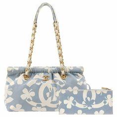 d9cc147390b7 Chanel Shoulder Bag - / 2004 Powder Four Leaf Clover Canvas Chain Handle  Wallet Canvas