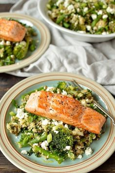Warm quinoa, green lentil, kale, broccoli and feta salad with salmon - an extremely high protein, nutritious and delicious meal (Quinoa Recipes Broccoli) Fish Recipes, Seafood Recipes, Vegetarian Recipes, Cooking Recipes, Healthy Recipes, Recipies, Warm Salad Recipes, Salmon Salad Recipes, Restaurant Recipes