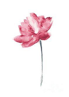 Coral Lotus Watercolor Shabby Chic Wall Decor, Lotus Flower Set by Joanna Szmerdt