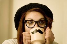 girl, moustache, mustache, separate with comma Hipsters, Hipster Girls, Movember, Girls With Glasses, Hipster Fashion, Hipster Style, Nerd Style, Favim, Geek Stuff