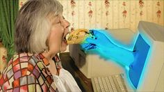 Be careful using augmented Reality: This woman eating a computer taco?