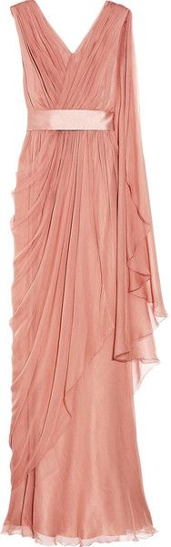 Alberta Ferretti draped goddess gown with surplice bodice and satin (?) belt. Tea Rose pink-peach silk chiffon dress.  glamour gown