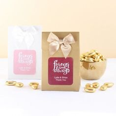 From the bridal collection 'Forever and Always', these wedding candy favor bags make for a lovely gift for your guests to demonstrate how much you appreciated them for attending your special day. These wedding candy favor bags can be personalized with your names and the date of your wedding. Winter Wedding Favors, Candy Wedding Favors, Wedding Favor Bags, Personalized Candy, Personalized Wedding, Red Wedding, Elegant Wedding, Wedding Color Schemes, Wedding Colors