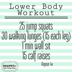 Lower Body Workout - no equipment needed  www.shapeher.weebly.com