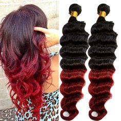 Burgundy Ombre Deep Wave Unprocessed Human Hair Extension 50g/pc Remy Hair Wefts #WIGISS #HairExtension