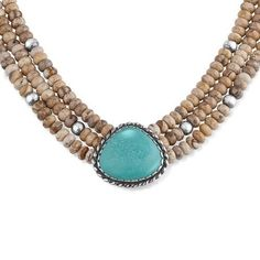 Sterling Silver Picture Jasper Green Turquoise Statement Necklace | Your #1 Source for Jewelry and Accessories